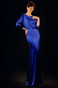 Sheath Jewel-Neck Beaded 3-4-Sleeve Floor-Length Satin Prom Dress