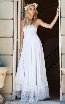 Graceful Floor Length Sleeveless Chiffon Lace Wedding Dress