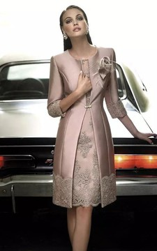 Jewel A-line Knee-length 3-4 Length Sleeve Satin Mother of the Bride Dress with Zipper Back
