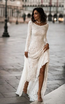 Elegant Lace Sheath Long Sleeves Bridal Gown with Sweep Train