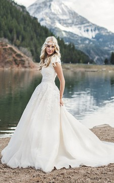 Queen Anne Ballgown Cap Sleeve Romantic Wedding Dress With Lace Appliques And Button Back