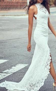 Sexy Lace Sheath Halter Sleeveless Keyhole Long Wedding Dress