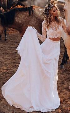Modern Two Piece Bateau Chiffon Lace Floor-length Sweep Train Long Sleeve Wedding Dress