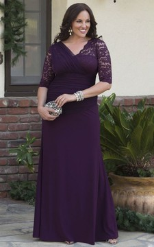 V-neck Jersey 3/4 Sleeve Sheath Gown With Lace And Tulle Tiered Appliques