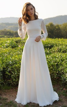 Chiffon Floor-length Court Train A Line Long Sleeve Sexy Wedding Dress with Lace