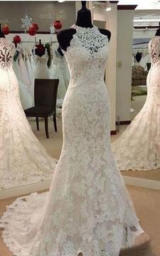 Vintage Illusion High Neck Sleeveless Full Lace Mermaid Wedding Dress