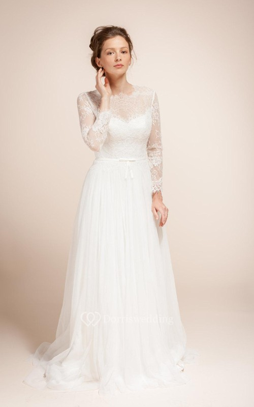 Illusion Long Sleeve A-Line Tulle Dress With Lace Bodice and Illusion Back