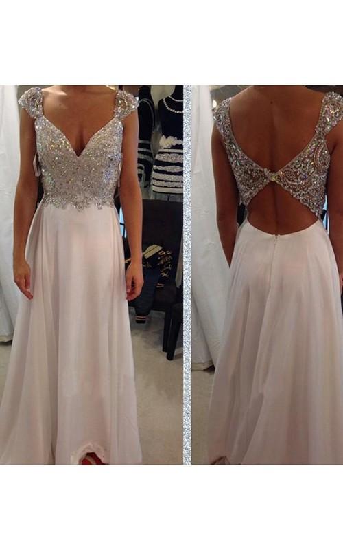 A-line Sleeveless V-neck Chiffon Beading Floor-Length Dresses