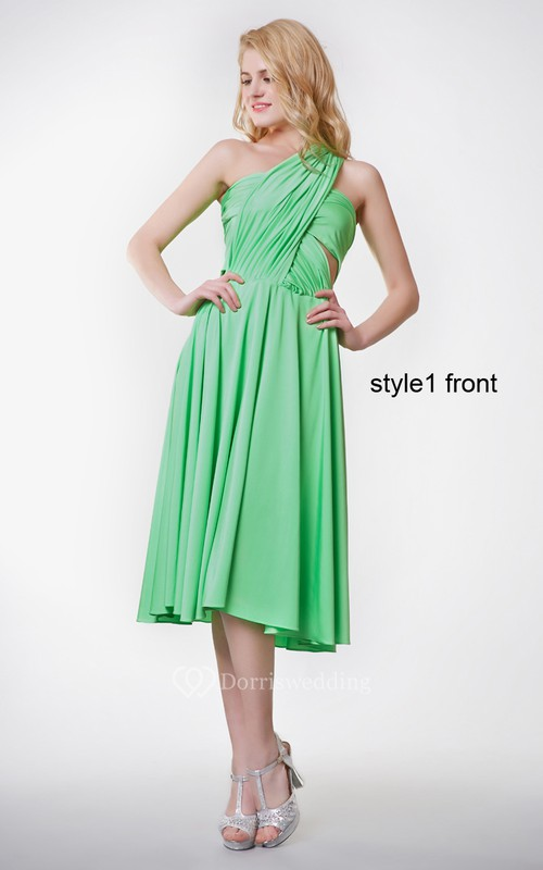 Ruched One Shoulder A-line Knee Length Jersey Dress With Cut-out