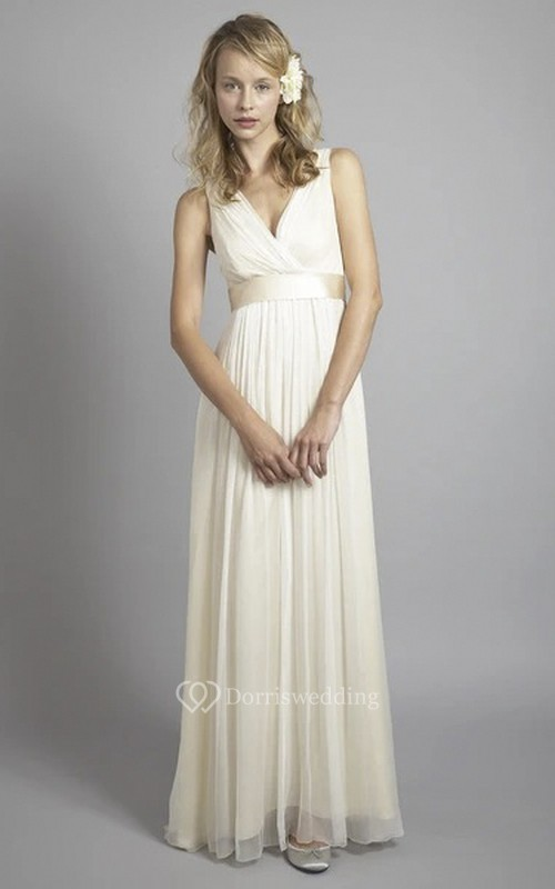 Criss Cross Plunging Chiffon Sleeveless Empire Wedding Gown With Low V-back