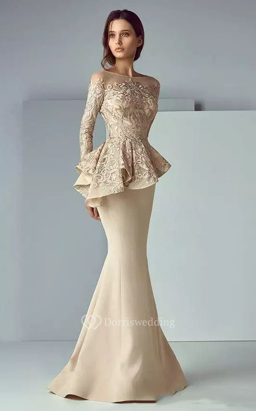 Bateau Mermaid Floor-length Long Sleeve Satin Lace Mother of the Bride Dress with Zipper Back