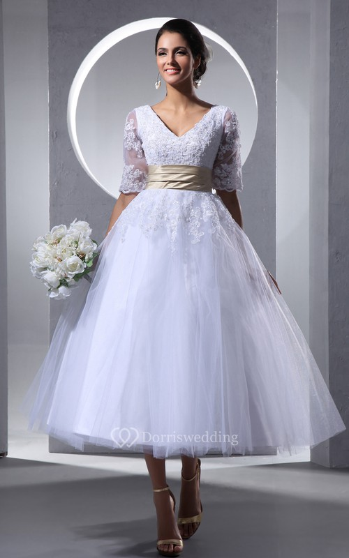 Half-Sleeve V-Neck Tea-Length Dress With Tulle Overlay