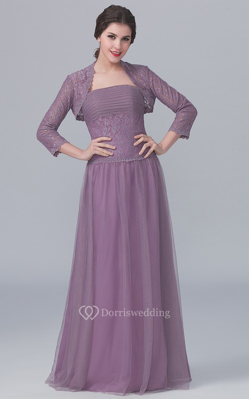 Strapless A-Line Gown With 3-4-Sleeved Lace Jacket