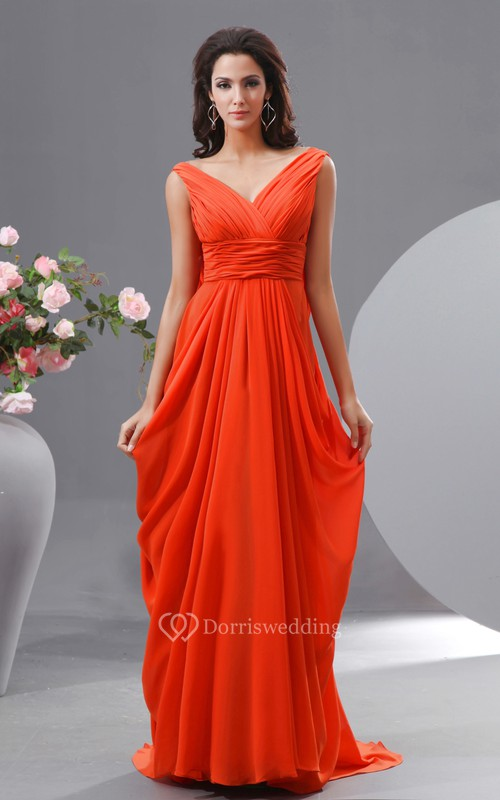 Unique V-Neck Empire Chiffon Long Dress With Draped V-Back