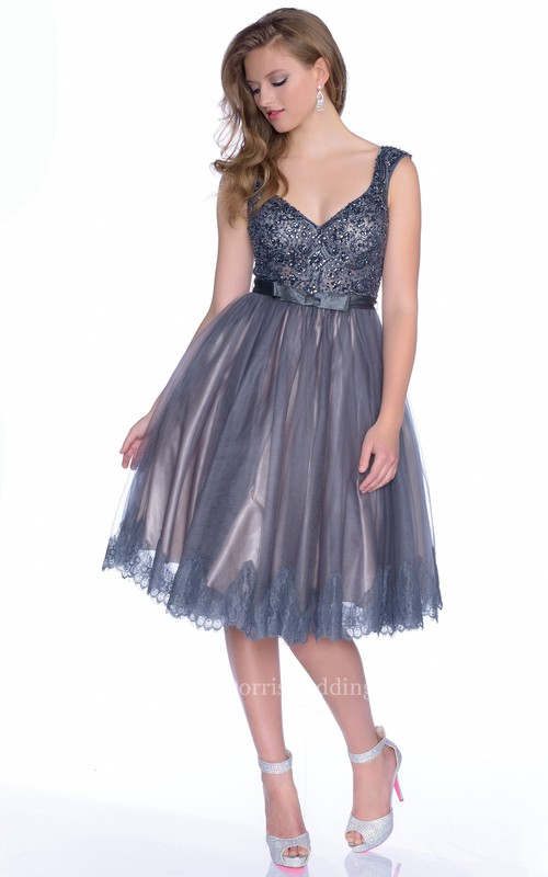 V-Neck Sleeve A-Line Sleeveless Bow Sash Gown With Deep-U Back And Beaded Bodice