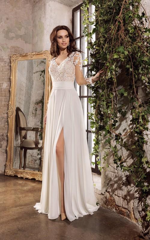 Ethereal Chiffon and Lace V-neck Floor Length Wedding Dress with Keyhole Back