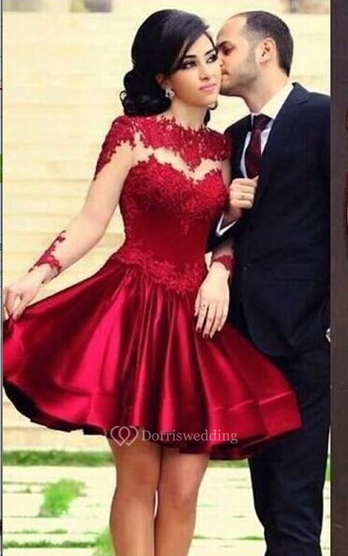 New Knee Length Lace Satin Homecoming Dresses Long Sleeves High Neck Sheer Party Gowns