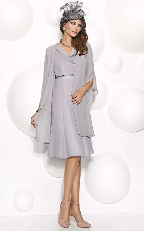 Knee-Length Half Sleeve V-Neck Jeweled Chiffon Mother Of The Bride Dress