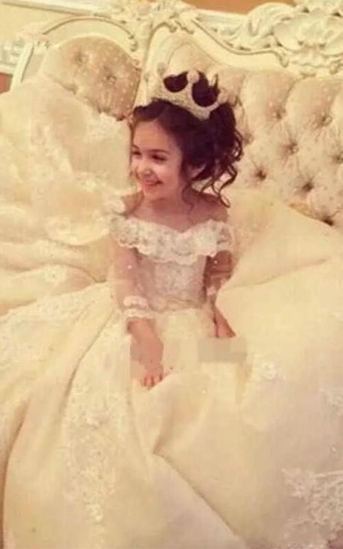 Satin Off-the-shoulder Corset Ball Gown Flower Girl Dress