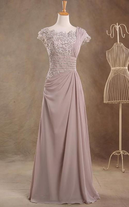 Jewel Cap Sleeve Empire Single Strap A-line Chiffon Long Dress With Beaded Top