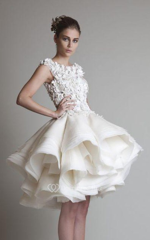 A-Line Ball Gown Empire Mini Jewel Bell Cap Empire Appliques Ruffles Button Lace Organza Dress