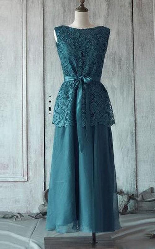 Bateau Sleeveless A-line Pleated Chiffon Tea Length Dress Lace Top Satin Sash