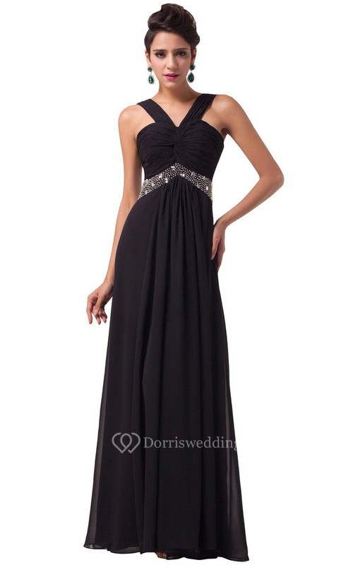 Sexy Sleeveless Chifofn Dress With Beaded Waist