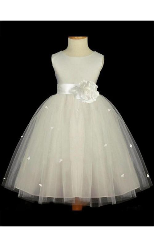 A-line Scoop Sleeveless Hand-made Flower Floor-length Tulle Flower Girl Dresses
