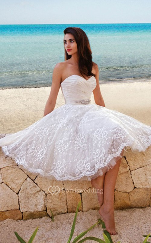 Princess Style Sweety Midi Wedding Dress With Sash