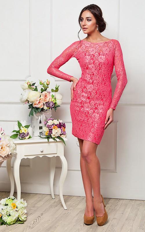 Sheath Short Mini Jewel Long Sleeve Lace Zipper Dress