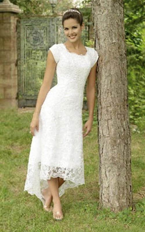 High Low U Neck Cap Sleeves Modest Elegant Lace Wedding Dress