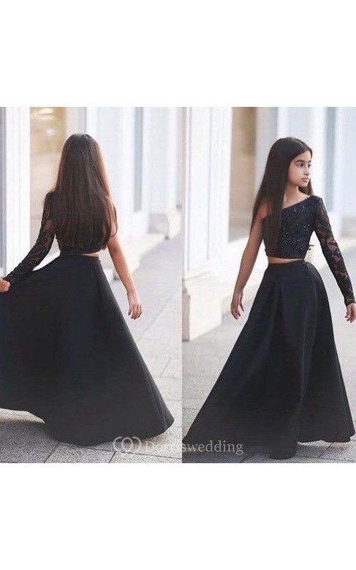 Sexy Black Two Piece Lace Flower Girl Dress Black One Sleeve A-line