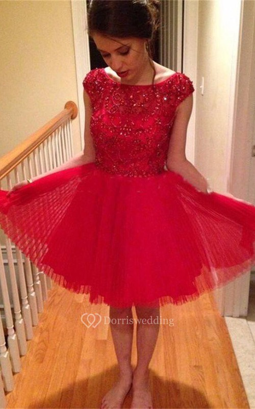Popular Short A-line Cap Sleeve Tulle Dress With Beading