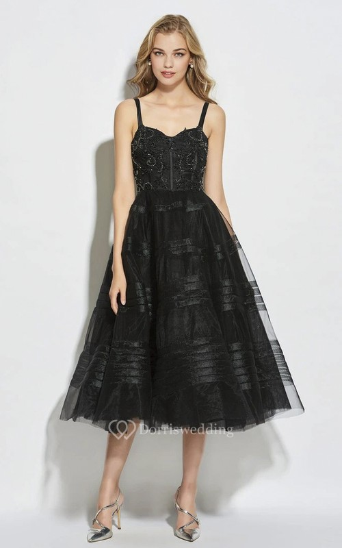Cute A-line Tea-length Straps Vintage Boned Dress With Sweetheart Neckline And Beading