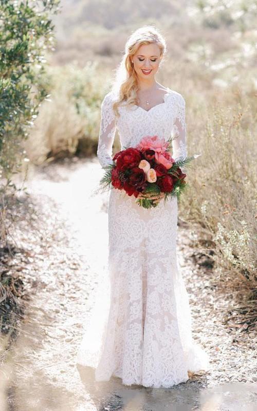 Lace Long Sleeve Country V-neck Elegant Garden Wedding Dresses