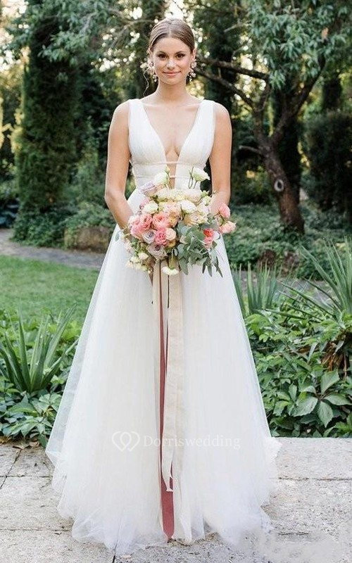 Tulle Floor-length Sweep Train A Line Sleeveless Romantic Wedding Dress