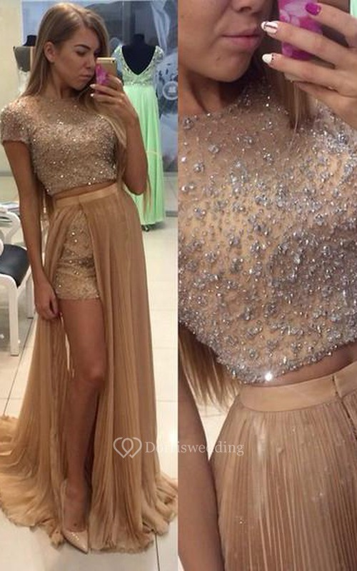 Stunning Two Pieces Prom Dresses 2018 Beadings Short Sleeve Split Party Gowns