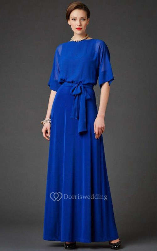 Bateau Bell Half Sleeve A-line Pleated Chiffon Long Dress With Sash