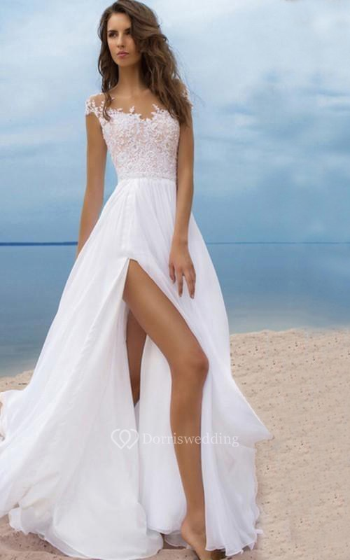 Sexy Beach Style Chiffon A-line Scoop-neck Cap-sleeve Slit Front Dress with Lace