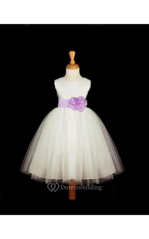 Scoop Neckline Sleeveless Empire Tulle Ball Gown With Floral Sash