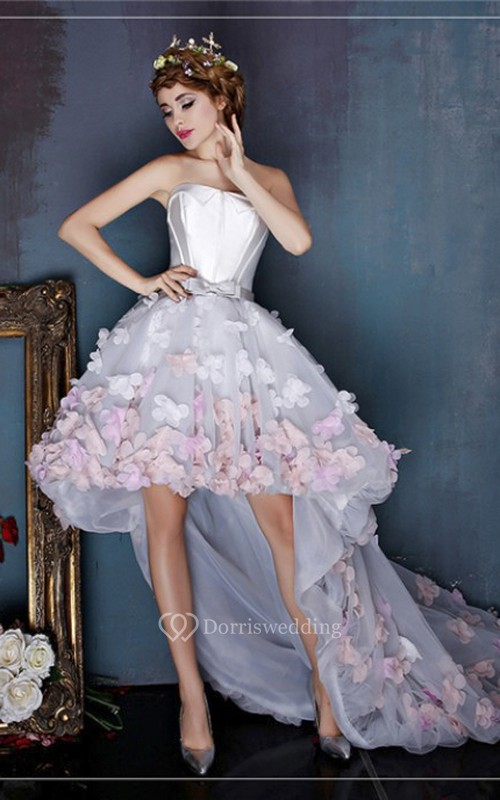 High-low Sleeveless Cute Open Back Dress With 3D Floral Appliques And Delicate Bow